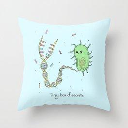 Tiny Box of Secrets - Cute Bacteria Throw Pillow