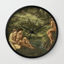Edward Burne Jones - The Garden Of Pan Wall Clock
