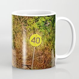 Old train track and speed sign Coffee Mug