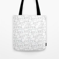 polar bear Tote Bags featuring polar bear by LOLIA-LOVA