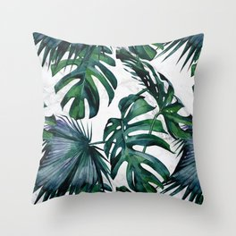 Tropical Palm Leaves Classic on Marble Throw Pillow