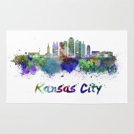 Kansas City V2  skyline in watercolor Rug