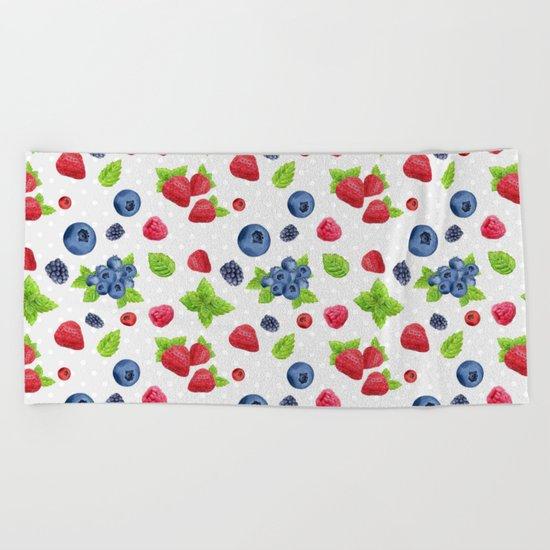 Berries Pattern 02 Beach Towel