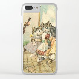 Posh cats Christmas card Clear iPhone Case