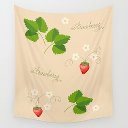 beige pattern with strawberry Wall Tapestry