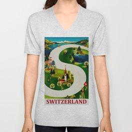 Vintage Switzerland Travel Unisex V-Neck