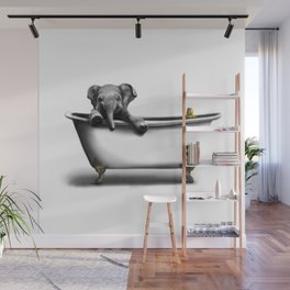 Elephant in Bath Wall Mural