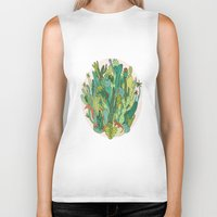 cacti Biker Tanks featuring Cacti by Gaby D'Alessandro