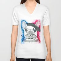 frenchie V-neck T-shirts featuring Frenchie by Irasema Langarica