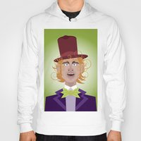 willy wonka Hoodies featuring Willy Wonka from Charlie and the chocolate factory, played by the great Gene Wilder by Joe Pugilist Design