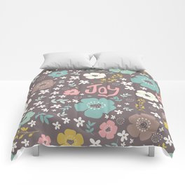 Cute Colorful Christmas Flowers & Text Comforters