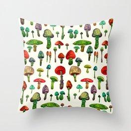 color mushrooms Throw Pillow