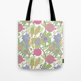 Seven Species Botanical Fruit and Grain with Pastel Colors Tote Bag