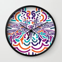 Colorful Fly Wall Clock