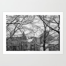 Winter Scenic of Castle Street, Lancaster. Art Print