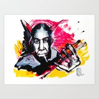 allyson johnson Art Prints featuring Robert Johnson by Matteo Lotti
