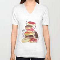 donuts V-neck T-shirts featuring DONUTS by TOO MANY GRAPHIX