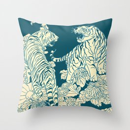 floral tigers Throw Pillow