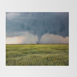 Behind the Scene - Large Tornado Passes Safely Behind a Farmhouse in Kansas Throw Blanket