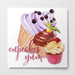 Cupcakes Yum! Metal Print