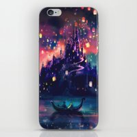 world maps iPhone & iPod Skins featuring The Lights by Alice X. Zhang