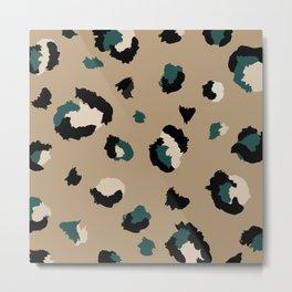 Leopard Print and Teal- Dark Tan Metal Print