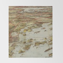 Vintage Pictorial Map of Portland Maine (1906) Throw Blanket