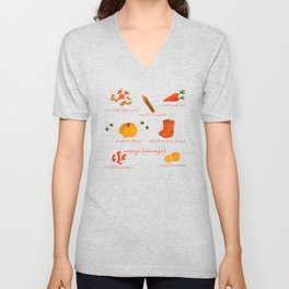 Colors: orange (Los colores: naranja) Unisex V-Neck