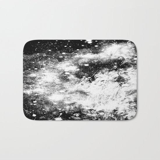 Chaotic Space : Galaxy Black White Gray Bath Mat