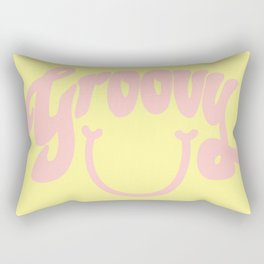 Groovy Smile // Fun Retro 70s Hippie Vibes Lemonade Yellow Grapefruit Pink Lettering Typography Art Rectangular Pillow