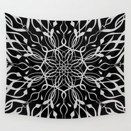 Floral Black and White Mandala Wall Tapestry