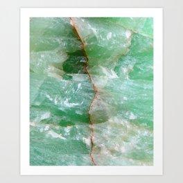 Crystalized Pale Green Quartz Slab with Copper Vein Art Print