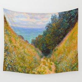 Claude Monet Impressionist Landscape Oil Painting Road at La Cavée, Pourville Wall Tapestry