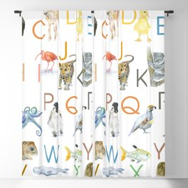 Alphabet Animals Watercolor 2 Blackout Curtain