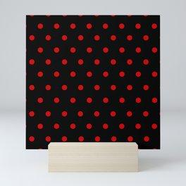 Rizzo - Red Polka Dots in Black Mini Art Print