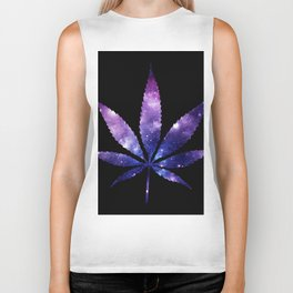 Weed : High Times purple blue Galaxy Biker Tank