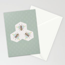 Hand drawing Bee on stylized honeycombs Stationery Cards