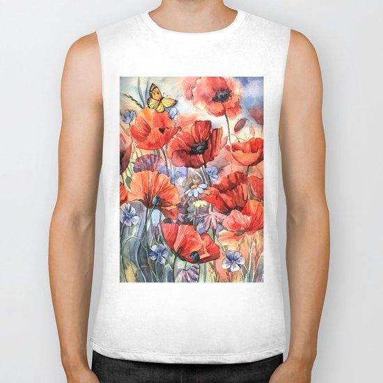 watercolor poppies Biker Tank