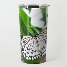 Black and White Butterfly with Red Flowers Travel Mug