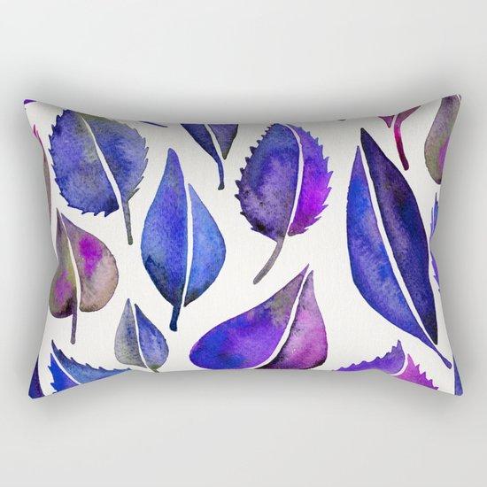 Indigo Leaves Rectangular Pillow