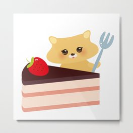 cute kawaii hamster with fork, Sweet cake decorated with fresh Strawberry, pink cream and chocolate Metal Print