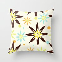 70s Throw Pillows featuring 70s flowers by Keyweegirlie