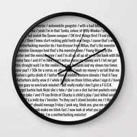 nicki Wall Clocks featuring Nicki Monster by Shelby Thompson