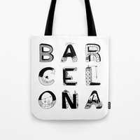barcelona Tote Bags featuring Barcelona by Anita Dinamita