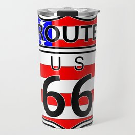 Route 66 Highway Sign With Flag Travel Mug