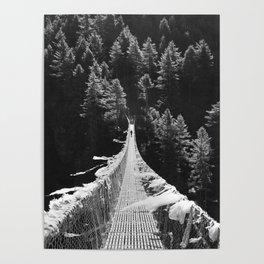 Man walking on the Tibetan bridge Poster