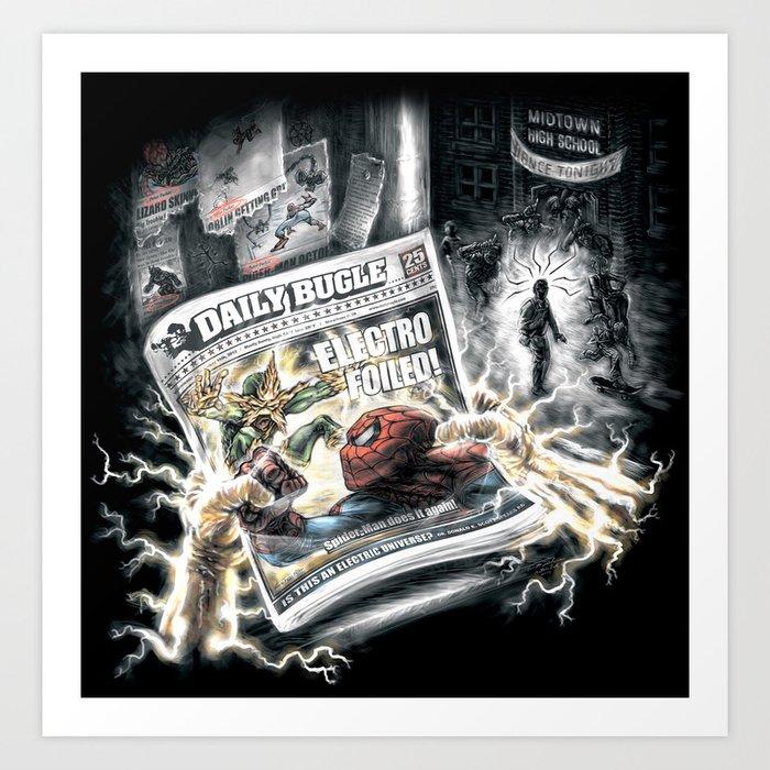Spider-Man vs Electro Art Print