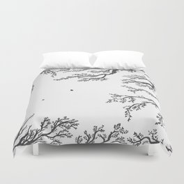 tree branches with birds and leaves on a light background Duvet Cover
