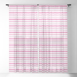 Think Pink Stripes 1 Sheer Curtain