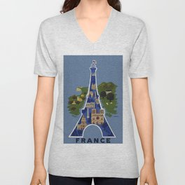 Vintage France Eiffel Tower Travel Poster Unisex V-Neck